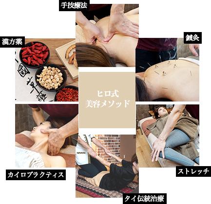 ヒロ式美容メソッド 手技療法 鍼灸 ストレッチ タイ伝統療法 カイロプラクティス 漢方薬